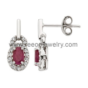 White Stone Micro Pave Setting Stud Earrings (E036)