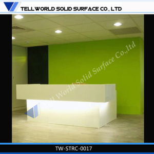 Shinny Pure White Solid Surface Reception Desk for Sale pictures & photos