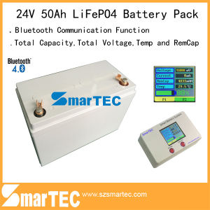 24V 50ah Deep Cycle LiFePO4 Battery Pack with Bluetooth Communication