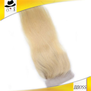 Virgin Indian Blonde Remy Wavy Hair Weave Closure pictures & photos