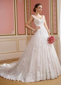 A-Line Lace Bridal Ball Gowns Beaded Sweetheart Wedding Dress J446 pictures & photos