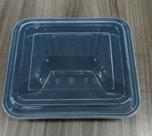 3 Portions Plastic Disposable Obentos Microwave Food Container with Cover pictures & photos