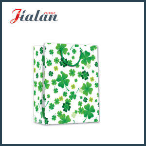 Glossy Laminated Art Paper Four Leaf Clovers Gift Paper Bag pictures & photos