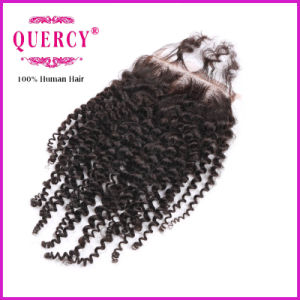 Kinky Curl Free Parting Human Hair Lace Closure pictures & photos