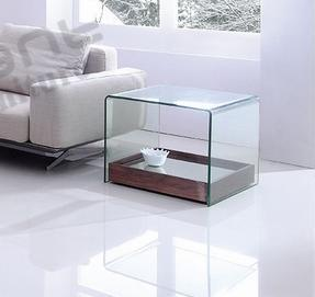 Clear Bent Glass Coffee Table with Movable Mirror Bottom pictures & photos