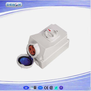 IP67 230V 3pin 63A Industrial Socket with Swithes and Mechanical Interlock pictures & photos