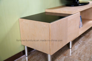 Modern Wooden Birch Veneer UV Matt Clear Lacquer TV Stand (AD-FY-N201-DSG) pictures & photos