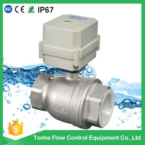 Dn50 2 Way 2 Inch DC12/24V Control Ss304 Stainless Steel Electric Motorized Ball Valve pictures & photos