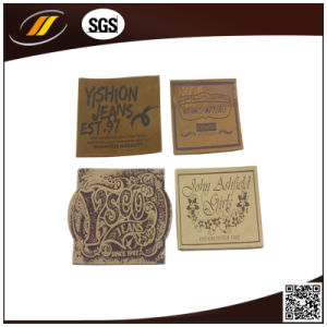 Custom Embossed Leather Label, Jeans Leather Patch (HJ0606) pictures & photos