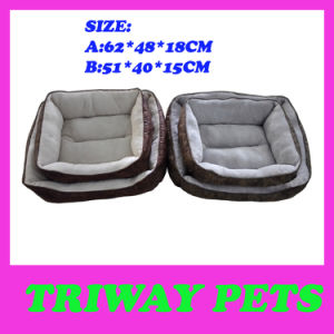 Soft Velveteen & Printed Fabric Foam Pet Bed (WY161020) pictures & photos