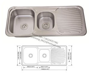 Sink, Kitchen Sink, Double Sink with Single Boad11048A pictures & photos
