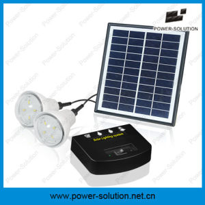 4W Solar Panel 2 Bulbs Solar Home Lighting System with Mobile Phone Charger (PS-K013N) pictures & photos