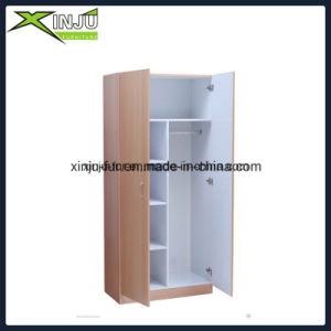 2 Door Bedroom Furniture Wardrobe with Compartments and Bar