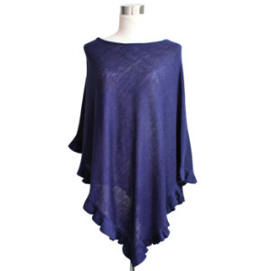 Lady Fashion Acrylic Knitted Ruffle Poncho Shawl (YKY4107-3) pictures & photos