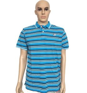 Men Cotton T Shhirt Polo Shirt Collar Striped T Shirt pictures & photos