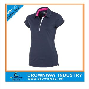 Women′s Stripe Golf Polo Shirt with Cap Sleeve pictures & photos