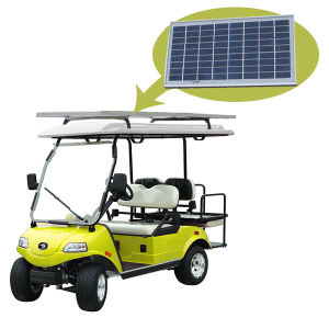 Solar Panel Golf Cart 2+2-Seater Yellow in Hotel pictures & photos