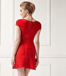 Ladies Fashion Bandage Dress with Square Neck Short Sleeve Lacework Dress pictures & photos