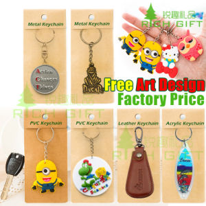 Custom Iron/Leather/PVC Embroidered Emoji Keychain with Metal Ring pictures & photos