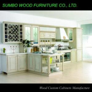Brown Glaze White Solid Wood Kitchen Cabinet (SBK-031)