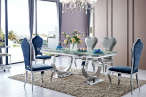 Modern Glass Dining Furniture with Stainless Steel Table Chairs pictures & photos