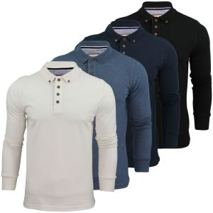 Men′s Long Sleeve Double-Weave Pique Cotton Polo Shirt (A324)