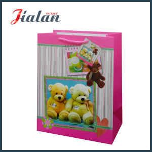 Lovely Bear Glossy Lamination Coated Logo Made Paper Packaging Bag pictures & photos