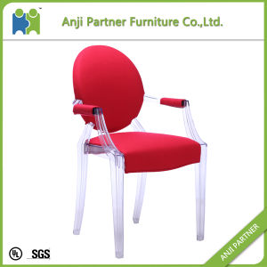 Transparent PC From Mould Injection Dining Chair with Soft Red Cover (Cora) pictures & photos