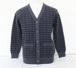 Cashmere/Yak Wool V Neck Cardigan with Pocket Sweater/Clothes/Garment/Knitwear pictures & photos
