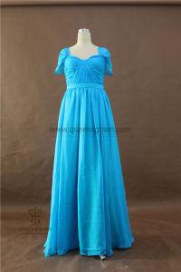 Wholesale Real Photo Short Sleeve Blue Chiffon Long Bridesmaid Dresses pictures & photos