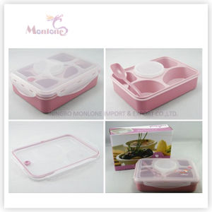 Kitchenware 4 Compartment Food Grade Plastic Microwave Lunch Box pictures & photos