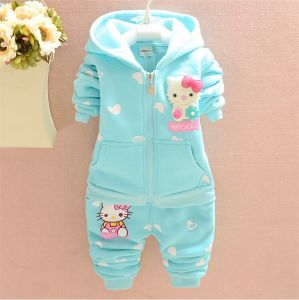 Ks1092 Kids Suit Autumn Winter Girl Fashion Cartoon Suits Newest Good Qualityclothes Fleece Hooded Coat+Pants Two-Piece for Wholesale pictures & photos