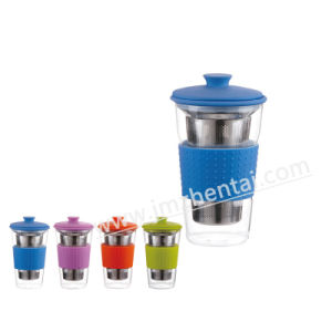 Hot Sale Borosilicate Glass Cup with Silicone Lid/Cap pictures & photos