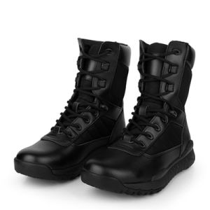 China Good Quality Black Leather Police Combat Boots Army Boots ...