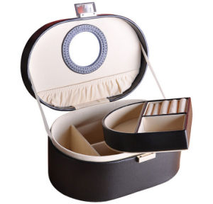 Oval Shape PU Leather Make-up Storage Case pictures & photos