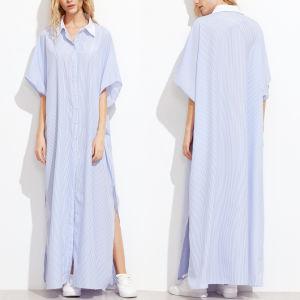 Fashion Women Leisure Casual Stripe T-Shirt Long Dress pictures & photos