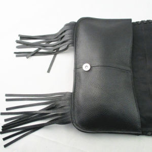 Ladies′ Leather Fringed Clutch Bag in Black pictures & photos