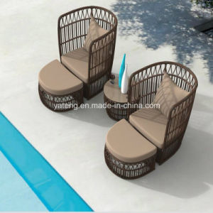 New Design Outdoor Garden Furniture Big Round Rattan Chair with Ottoman&Coffee Table pictures & photos