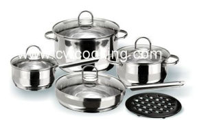 Customized Making 9PCS Stainless Steel Cookware Set with Glass Lid pictures & photos