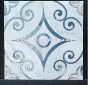 High Grade Waterjet Medallion, Water Jet Mosaic Tile, Blue Mix White Marble Mosaic for Decoration pictures & photos