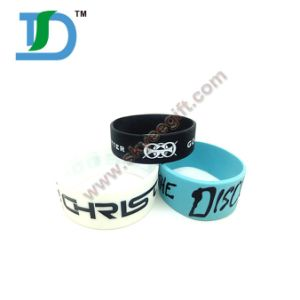 Debossed Silicone Wristband with Color Filled pictures & photos