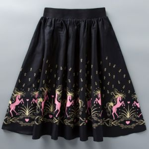 Wholesale Latest MID-Calf Elastic Waist Sublimation Printed Women Umbrella Skirts pictures & photos