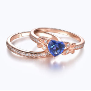 Butterfly with Heart Cut Sapphire Ring Set pictures & photos