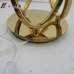Hotel Decorative Linen Fabric Bedside Polished Brass Reading Table Lamp pictures & photos