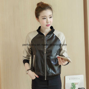 Fashion Women PU Coat Baseball Jacket Outer Wear Outdoor Clothing pictures & photos
