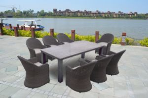 Patio Wicker Garden Hotel Home Office Round Rattan Buffalo Dining Chair and Table (J717) pictures & photos