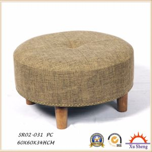 Silver Velvet Round Coffee Table Footrest Seat pictures & photos