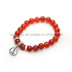 European Jewelry Stainless Steel Metal Logo Beads Agate Bracelet pictures & photos