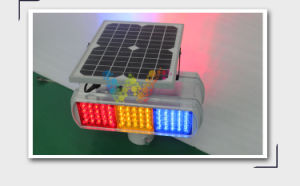 Solar Powered Red Amber Blue Safety Warning Flashing Light pictures & photos