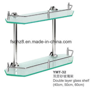 Two Layer Stainless Steel Glass Shelf Towel Rack (YMT-32) pictures & photos